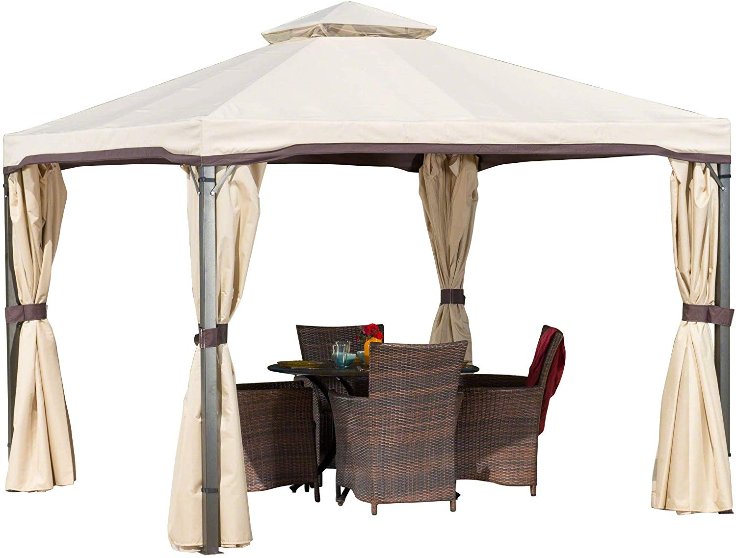 Christopher Knight Home Sonoma Outdoor Iron Gazebo Canopy Umbrella with Net Drapery