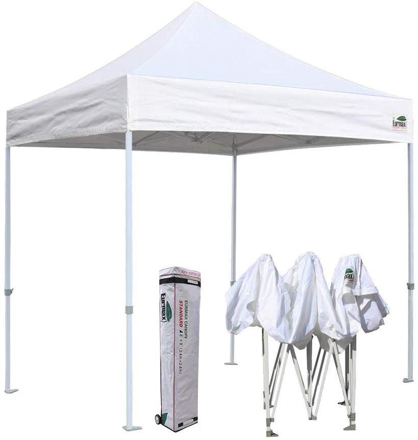 Eurmax 8x8 Feet Ez Pop up Canopy, Outdoor Canopies Instant Party Tent, Commercial Gazebo Bonus Roller Bag