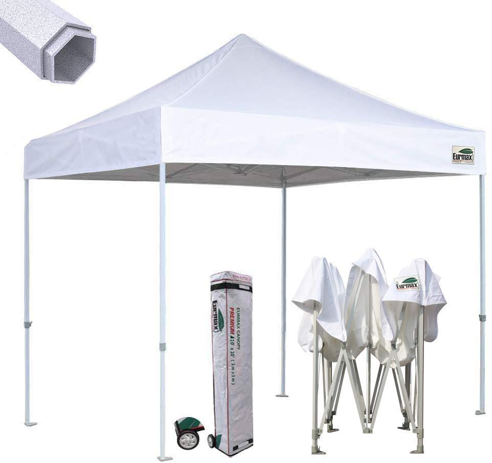 Eurmax Premium 10'x10' Ez Pop-up Canopy Tent Commercial Instant Canopies Shelter with Heavy Duty Wheeled Carry Bag