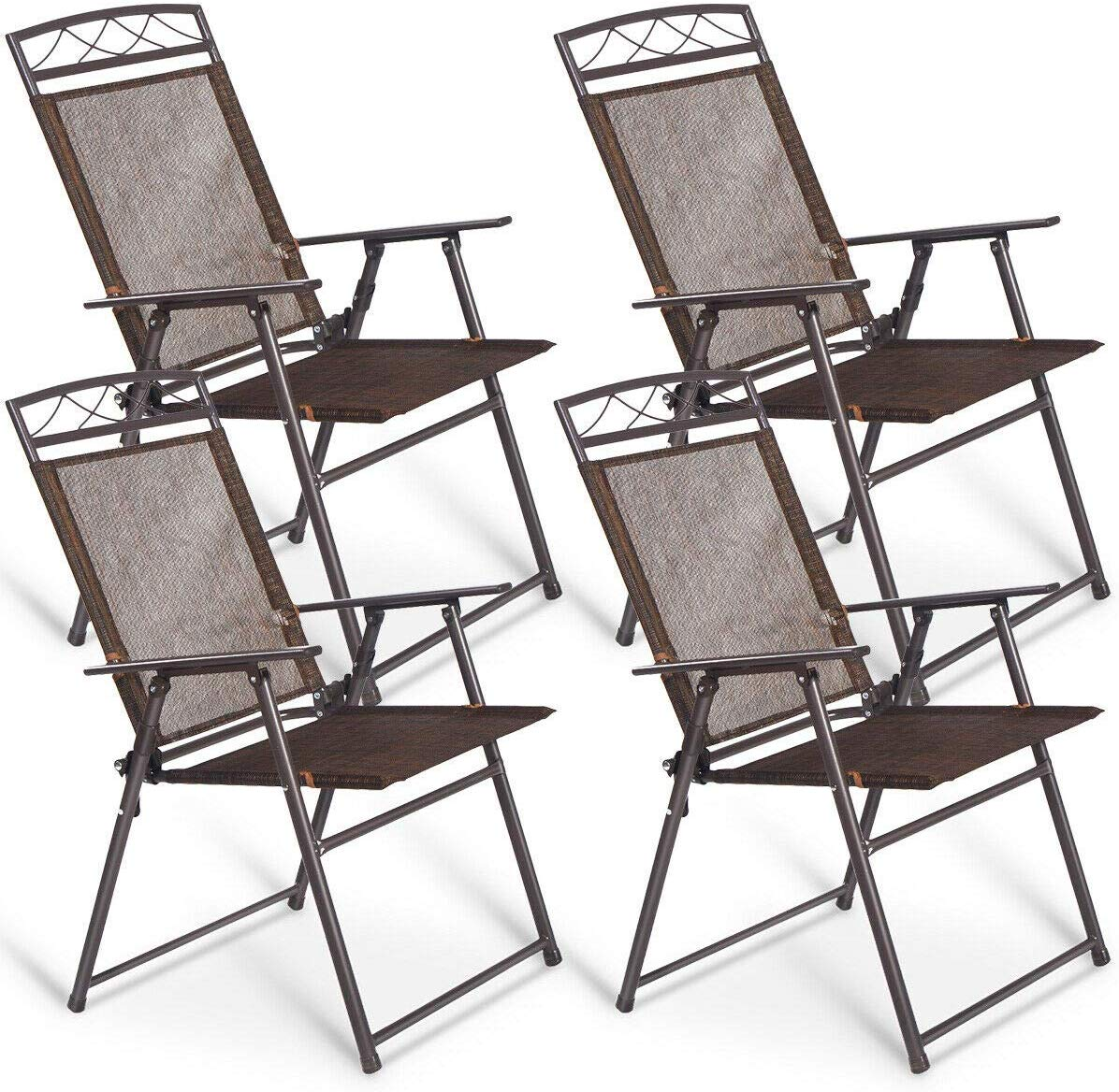 Giantex Set of 4 Patio Folding Sling Chairs