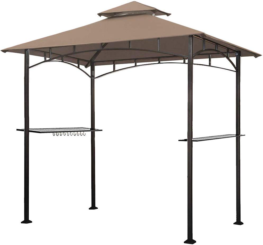 Keymaya 8x5 Grill Gazebo Shelter for Patio and Outdoor Backyard BBQ's, Double Tier Soft Top Canopy and Steel Frame with Bar Counters