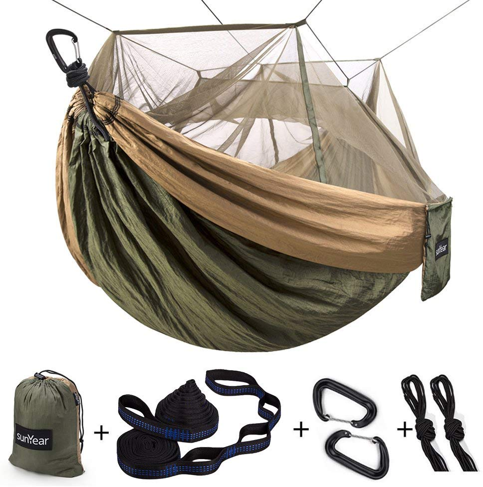 Single & Double Camping Hammock with Mosquito Net