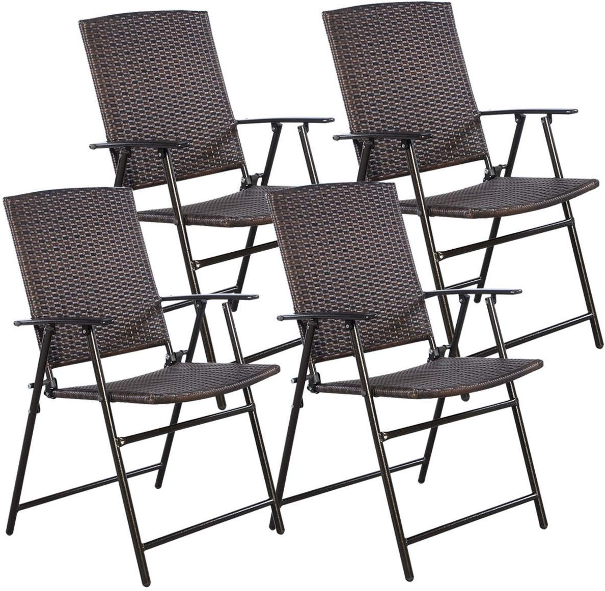 Tangkula 4 PCS Folding Patio Chair Set