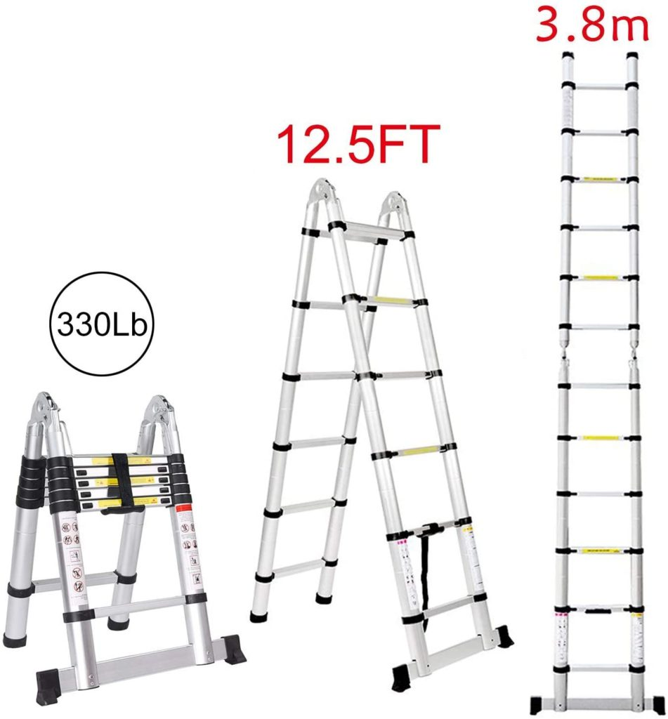 Jiahe12.5FT Telescoping Extension Ladder