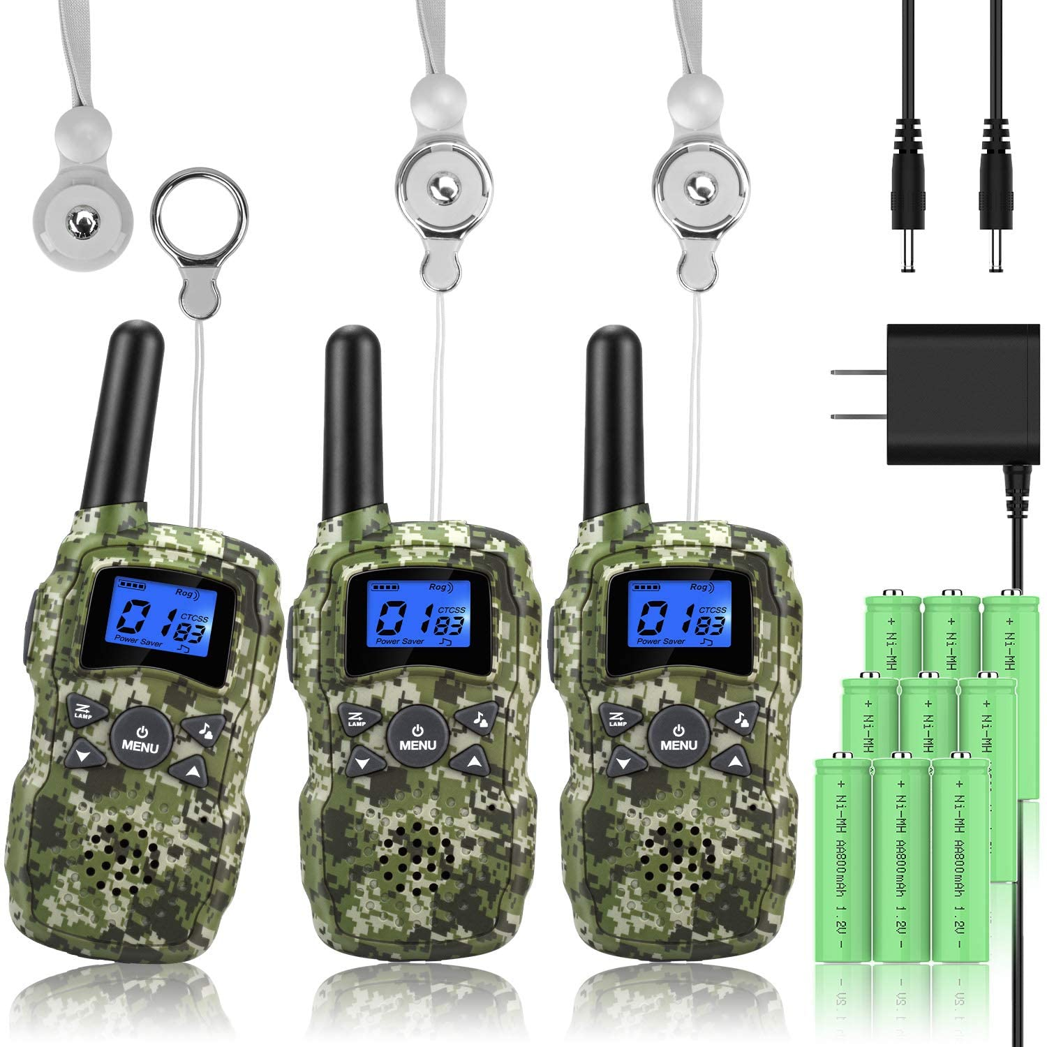Wishouse Rechargeable Walkie Talkies, 3 Pack Camouflage