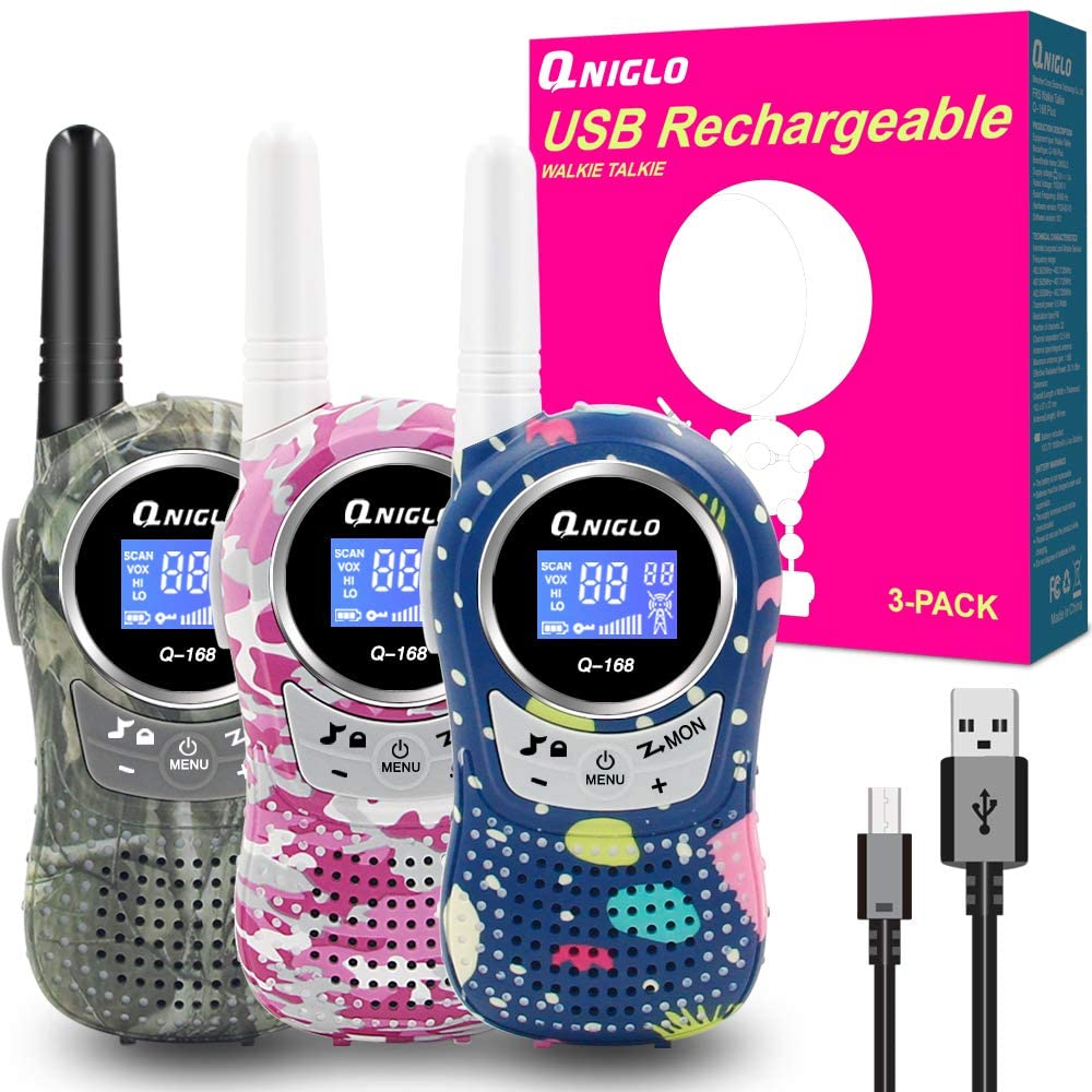 Rechargeable Kids Walkie Talkies 3 Pack by QNIGLO