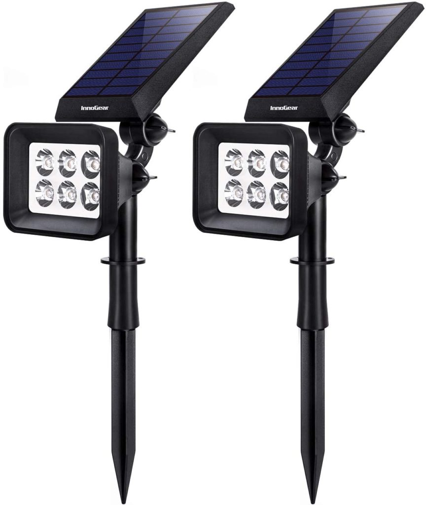 InnoGear Solar Lights Outdoor, 6 LED Solar Landscape Spotlights